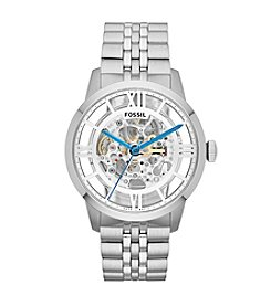 Fossil® Men's Townsman Silvertone Automatic Watch in Stainless Steel with Skelton Dial