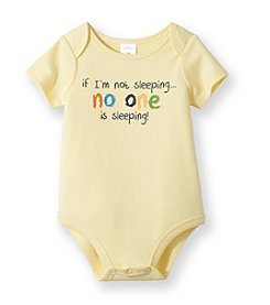 Cuddle Bear® Baby Yellow Silk No One is Sleeping Bodysuit