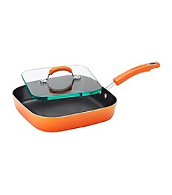 "Rachael Ray® 11"" Orange Gradient Porcelain II Aluminum Nonstick Square Deep Griddle and Glass Press"