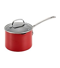 Circulon® Genesis 3-qt. Red Aluminum Nonstick Covered Straining Saucepan