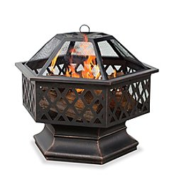 UniFlame® Oil Rubbed Bronze Outdoor Hexagon Firebowl with Lattice Design