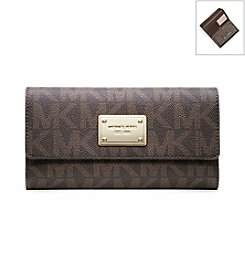 MICHAEL Michael Kors® Brown Signature Logo Checkbook Wallet