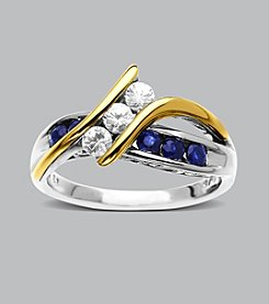 14K Yellow Gold/Sterling Silver Fashion Band Ring with Blue and White Sapphires