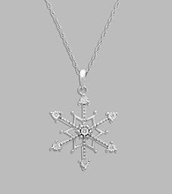 Sterling Silver Snowflake Pendant with 0.02 ct. t.w. Diamond Accents