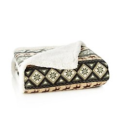 LivingQuarters Micro Cozy Sherpa Moose Throw
