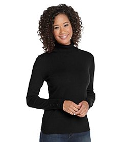 Cupio Knits Covered Button Turtleneck Sweater