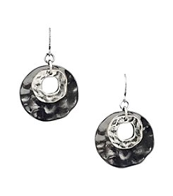 Laura Ashley® Two-Tone Hammered Disk Drop Earrings