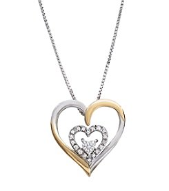 .10 ct. t.w. Diamond Double Heart Pendant Sterling Silver/14K Gold