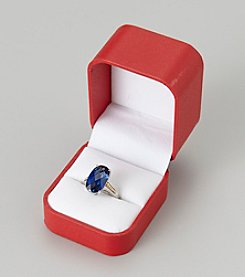 Created Ceylon Sapphire Ring in Sterling Silver/14K Gold