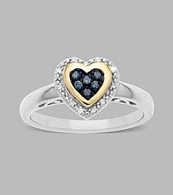 0.08 ct. t.w. Green and White Diamond Heart Ring in Sterling Silver/14K Gold