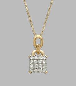 0.33 ct. t.w. Diamond Square Pendant in 10K Yellow Gold