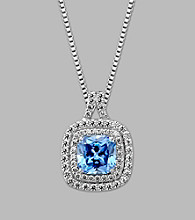 Balentino® Blue Pendant in Sterling Silver made with Swarovski® Cubic Zirconia Elements