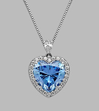 Balentino® Blue Heart Pendant in Sterling Silver made with Swarovski Cubic Zirconia Elements
