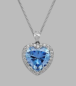 Balentino® terling Silver Blue and White Swarovski Cubic Zirconia Heart Pendant