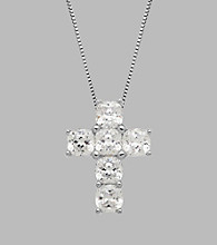 Balentino® Sterling Silver Cross Pendant made with Swarovski® Cubic Zirconia Elements