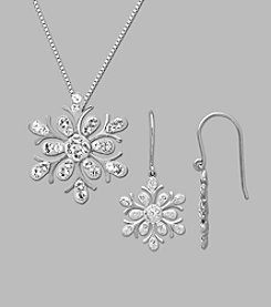 Impressions Crystal Snowflake Pendant and Earrings Set in Sterling Silver