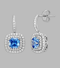Balentino® Blue Earrings in Sterling Silver Made With Swarovski® Cubic Zirconia Elements