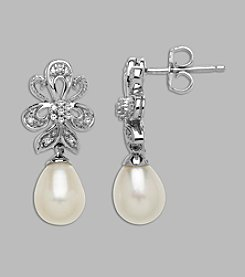 Freshwater Pearl .08 ct. t.w. Diamond Earrings in Sterling Silver