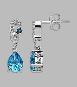 Blue Topaz Drop Earrings in Sterling Silver