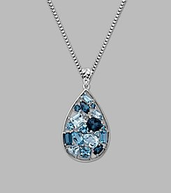 Mix Topaz Teardrop Pendant in Sterling Silver