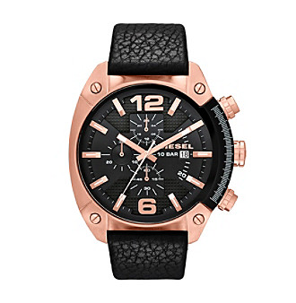 Diesel Rose Goldtone Overflow Watch with Black Dial and Blac