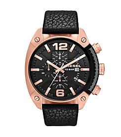 Diesel Rose Goldtone Overflow Watch with Black Dial and Black Genuine Leather Strap