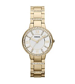 Fossil® Women's Virginia Watch in Goldtone with Crystal Bezel