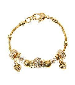 L&J Accessories Goldtone, Crystal Fireball and Heart Slider Charm Bracelet