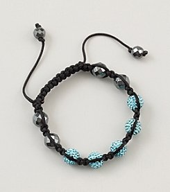 Designs by FMC Shamballa Macrame Adjustable Bracelet with 10mm Aqua Crystals And Faceted Hematite