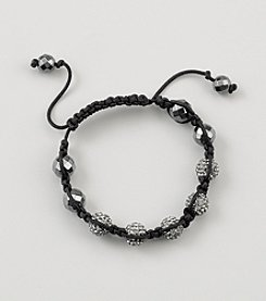 Designs by FMC Shamballa Macrame Adjustable Bracelet with 10mm Silver Crystals and Faceted Hematite