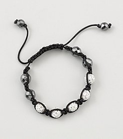 Designs by FMC Shamballa Macrame Adjustable Bracelet with 10mm White Crystals and Faceted Hematite