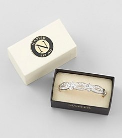 Napier® Boxed Silvertone and Crystal Hinge Bracelet