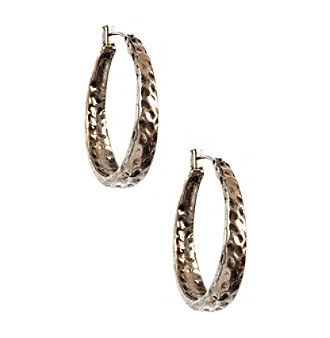 Nine West Vintage America Collection® Antique Silvertone Hammered Oval Hoop Pierced Earrings plus size,  plus size fashion plus size appare