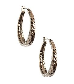 Nine West Vintage America Collection® Antique Silvertone Hammered Oval Hoop Pierced Earrings