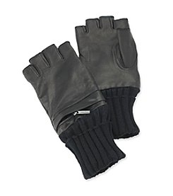 Calvin Klein Men's Black Leather Fingerless Glove with Pocket