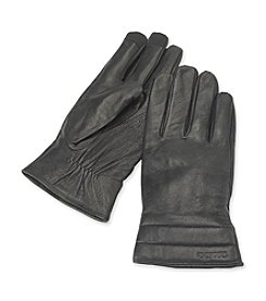 Calvin Klein Men's Black Leather Double Quilt Glove