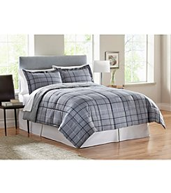 LivingQuarters Axel Grey Reversible Microfiber Down-Alternative Comforter or Shams