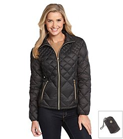 MICHAEL Michael Kors Diamond Quilted Pattern Packable Coat - Black