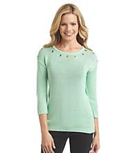 Notations® Wide Crewneck Drop Shoulder Sweater