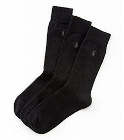 Polo Ralph Lauren® Men's 3-Pack Black Flat Knit Socks