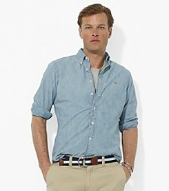 Polo Ralph Lauren® Men's Medium Washed Blue Long Sleeve Classic-Fit Chambray Button-Down Sport Shirt