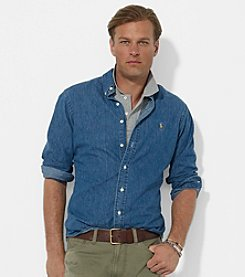 Polo Ralph Lauren® Men's Dark Washed Blue Classic-Fit Denim Button-Down Sport Shirt