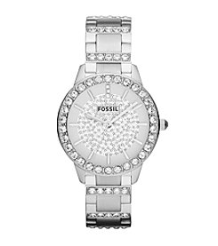 Fossil® Women's Jesse in Silvertone Watch with Crystal Top Ring and Pave Dial