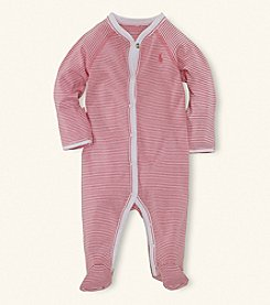 Ralph Lauren® Baby Girls' Pink Paisley Striped Coverall