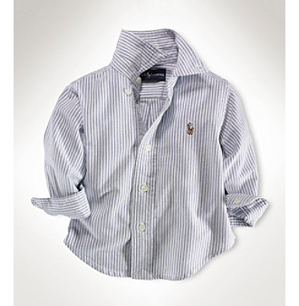 8232907b5 UPC 884733126240 product image for Ralph Lauren Childrenswear Baby Boys'  Blue Striped Oxford Shirt Kid's ...