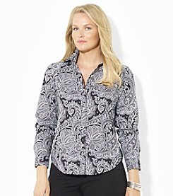 Lauren Ralph Lauren® Plus Size Paisley Wrinkle-Free Dress Shirt