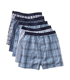 Hanes® Men's 5-Pack Black and Blue Yarn Dyed Boxers