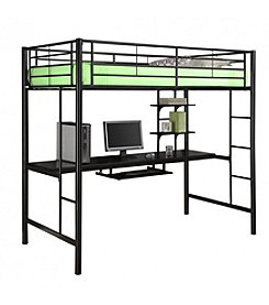 W. Designs Metal Full Over Workstation Bunk Bed