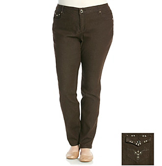One 5 One Plus Size Arrow Bling Back Pocket Brown Jeans Women&39...