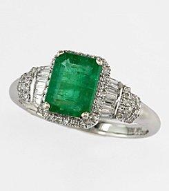 Effy® Brasilica Collection 14K White Gold Diamond & Emerald Ring